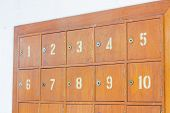 foto of old post office  - Rows of retro wooden post office boxes - JPG