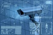 stock photo of cctv  - CCTV camera or surveillance on screen display - JPG