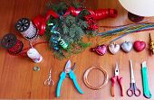 picture of handicrafts  - Tools and decorations for making of handicraft christmas wreath - JPG
