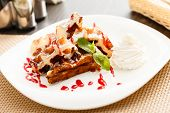 foto of whipping  - belgian waffle with whipped cream - JPG