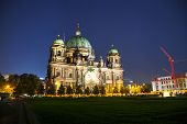 stock photo of dom  - Berliner Dom overview in the night time - JPG