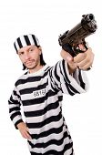 picture of inmate  - Prison inmate with gun isolated on white - JPG