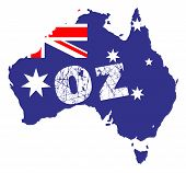 picture of oz  - Outline map of Australia over a white background with flag inset and OZ - JPG