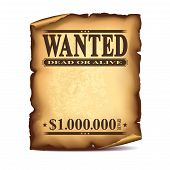 Wintage Wanted Poster Isolated On White Vector poster