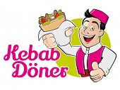 pic of kebab  - funny cartoon man with doner and german text that means kebab doner - JPG