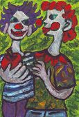 picture of mans-best-friend  - Acrylic painting of two clowns best friends - JPG