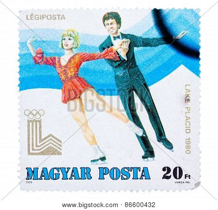 Stamp printed in the Hungary shows Figure Skating, Winter Olympi