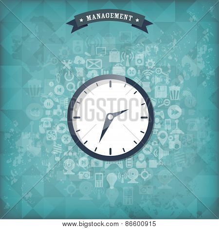 Clock flat icon. World time concept. Business background. Internet marketing. Daily infographic. Old