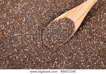 Chia Seeds With Wooden Spoon