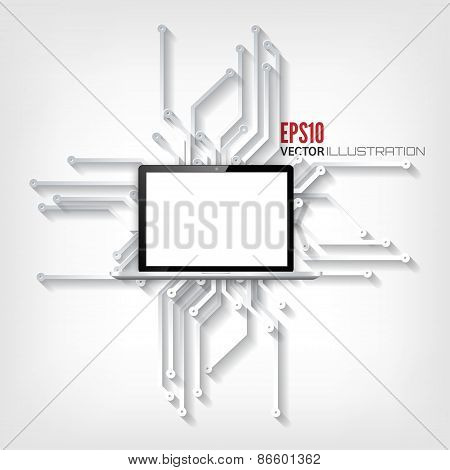 Abstract integrated circuit. Business background. Realistic detalized flat laptop.