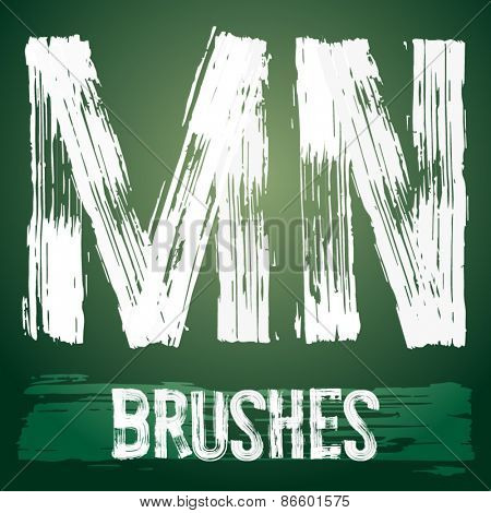 Vector set of grunge brush font available for military, construction and transportation themes. Letters M N
