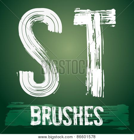 Vector set of grunge brush font available for military, construction and transportation themes. Letters S T