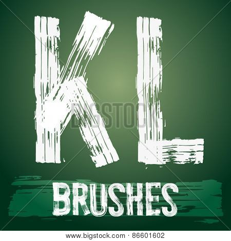 Vector set of grunge brush font available for military, construction and transportation themes. Letters K  L