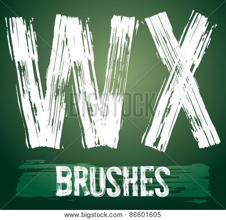 Vector set of grunge brush font available for military, construction and transportation themes. Letters W X