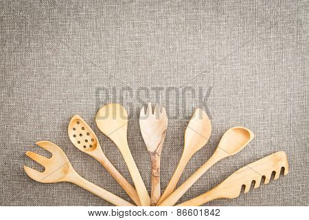 Fanned Display Of Wooden Kitchen Utensils