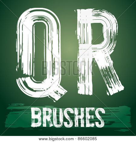 Vector set of grunge brush font available for military, construction and transportation themes. Letters Q R