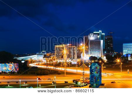 Night Panorama Scene Building In Minsk, Belarus