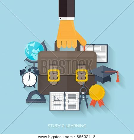 Flat concept education background. Back to school. Distance learning. Study in univercity.