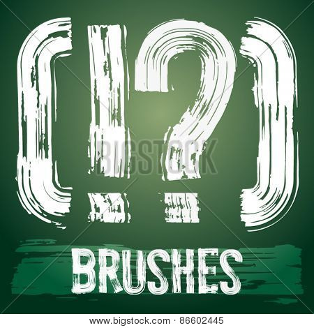 Vector set of grunge brush font available for military, construction and transportation themes. Symbols