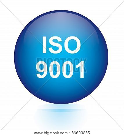 ISO 9001 blue circular button