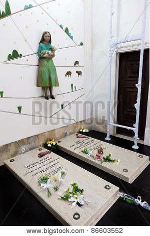 Sanctuary of Fatima, Portugal, March 07, 2015 - Tombs of Jacinta Marto and Sister Lucia, two of the three young shepherds that witnessed the apparition and miracle. Basilica of Our Lady of the Rosary