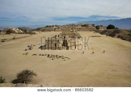 Mexico Oaxaca Monte Alban Central Square With Sellers And Cloudy Sky