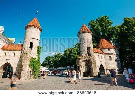 Famous Viru Gate - Part Old Town Architecture Estonian Capital,