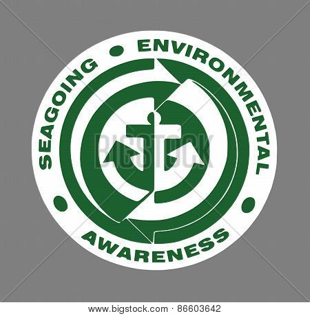 Green Seagoing Environmental Awareness sign over grey