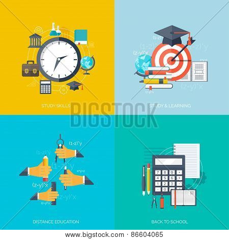 Flat concept education backgrounds set. Back to school. Distance learning. Study in univercity.