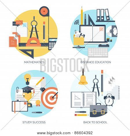 Flat vector illustration. Study and learning concept background. Distance education and online cours