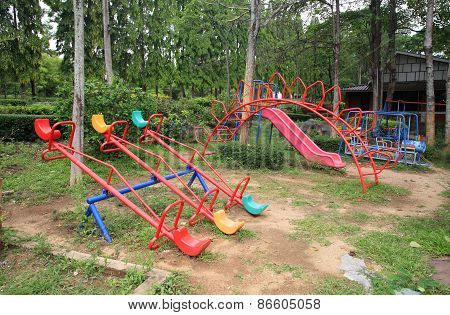 Old Children Playground In The Park