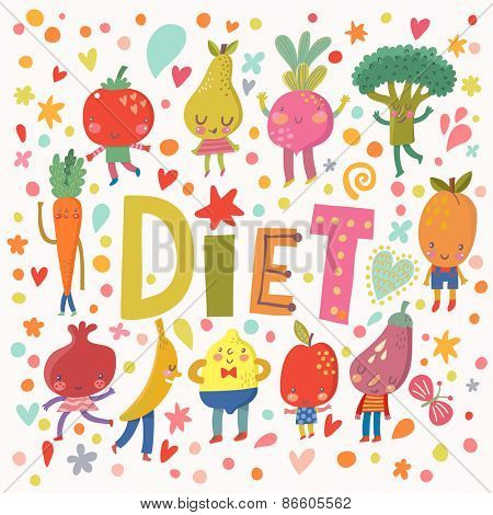 Sweet diet concept card with sweet fruits and vegetables in vector. Tasty lemon, apple, eggplant, apricot, broccoli, beet, pear, tomato, carrot, pomegranate and banana in funny cartoon style