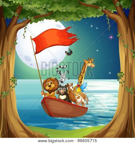 Many animals on the boat with fullmoon background
