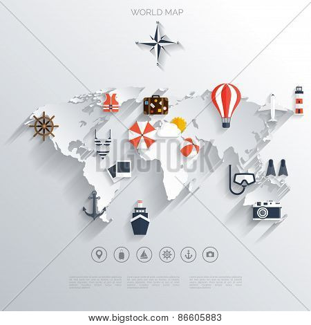 Abstract map travel concept background flat icons tourism abstract map travel concept background flat icons tourism concept images gumiabroncs Images
