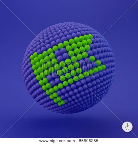 Flag icon. Web sign. Design element. Vector illustration. 3D Pixel Art.