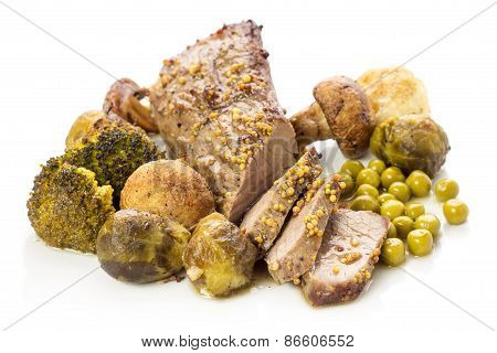Roast Beef With Vegetables On White Background