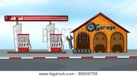 Gas station next to a garage