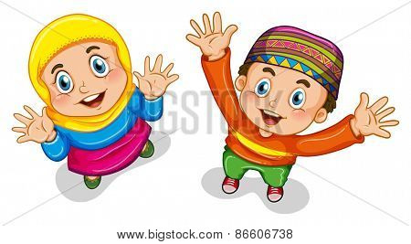Close up muslim boy and girl in costume