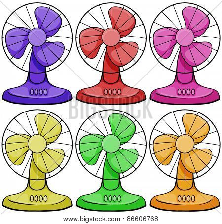 Six different colors electric fan