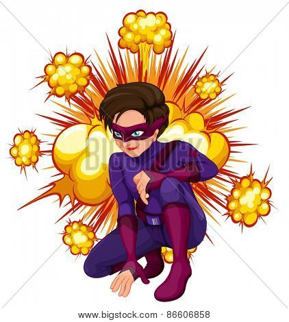 Superhero with cloud explosion background