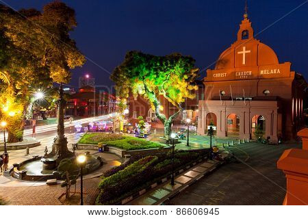 Night view of the Christ Church and the Dutch Square, Malacca