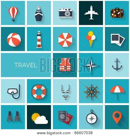 World travel concept background.  Flat icons set. Tourism concept image.Holidays and vacation.Sea, o