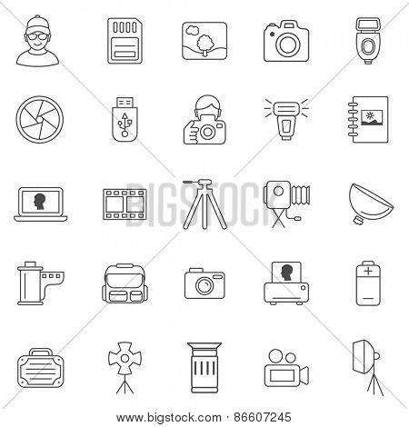 Photo line icons set.Vector
