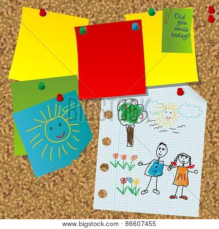 Cork Board With Paper Notes And Children Pictures