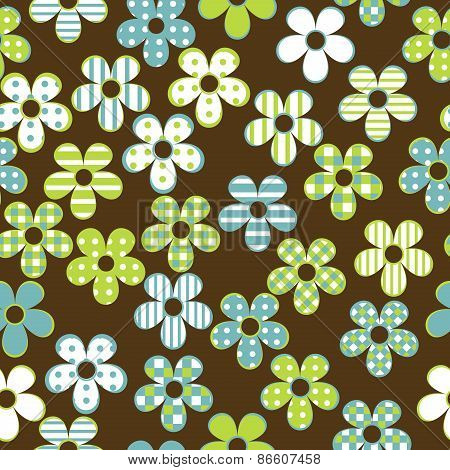 Floral Seamless With Patterned Flowers