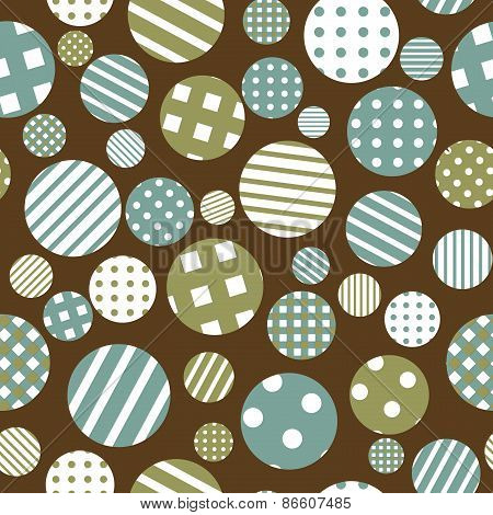 Seamless Background With Patterned Round Shapes
