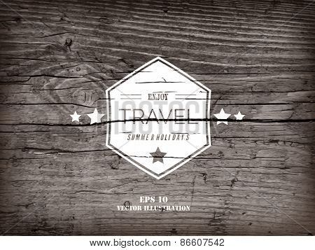 Realistic highly detalized grunge wood background with white travel sign. Old wooden plank.