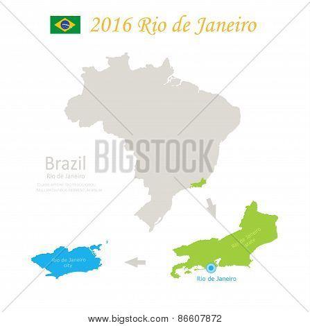 Brazil Rio de Janeiro state city Brazil map vector
