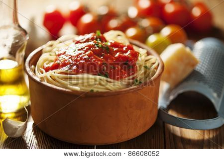 bowl of pasta with tomato sauce
