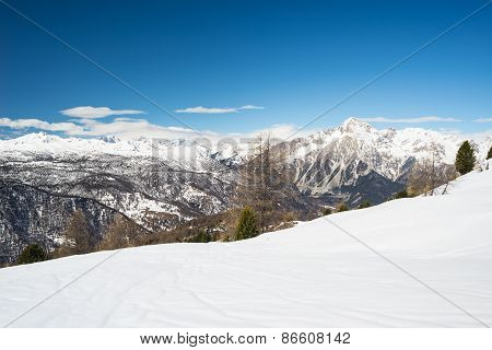 Panoramic Ski Resort In The Italian French Alps